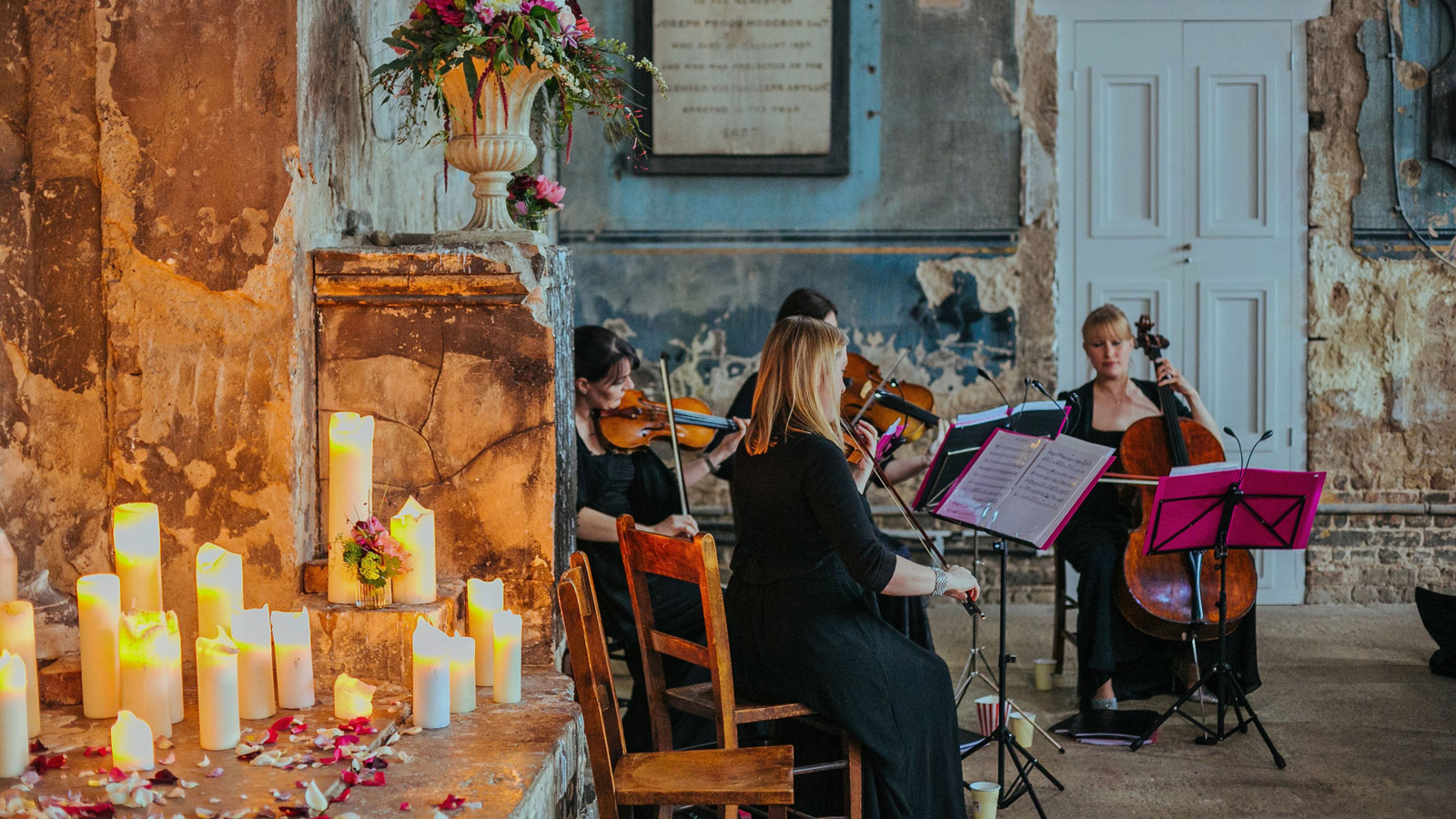 Titanium String Quartet perform at a wedding.