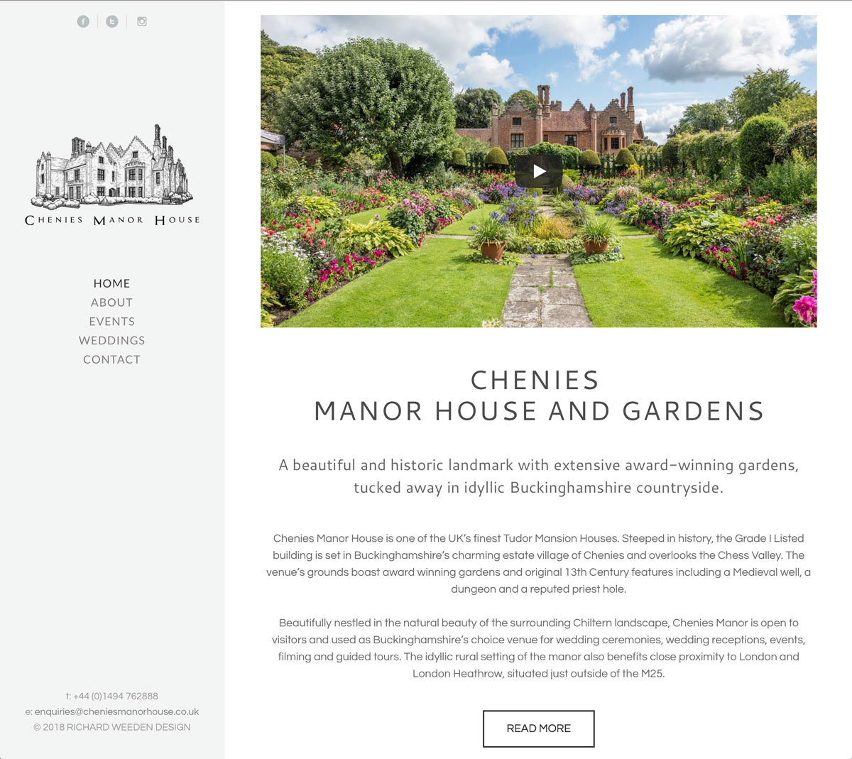 A screenshot of Chenies Manor House and Gardens website, designed by RWD.