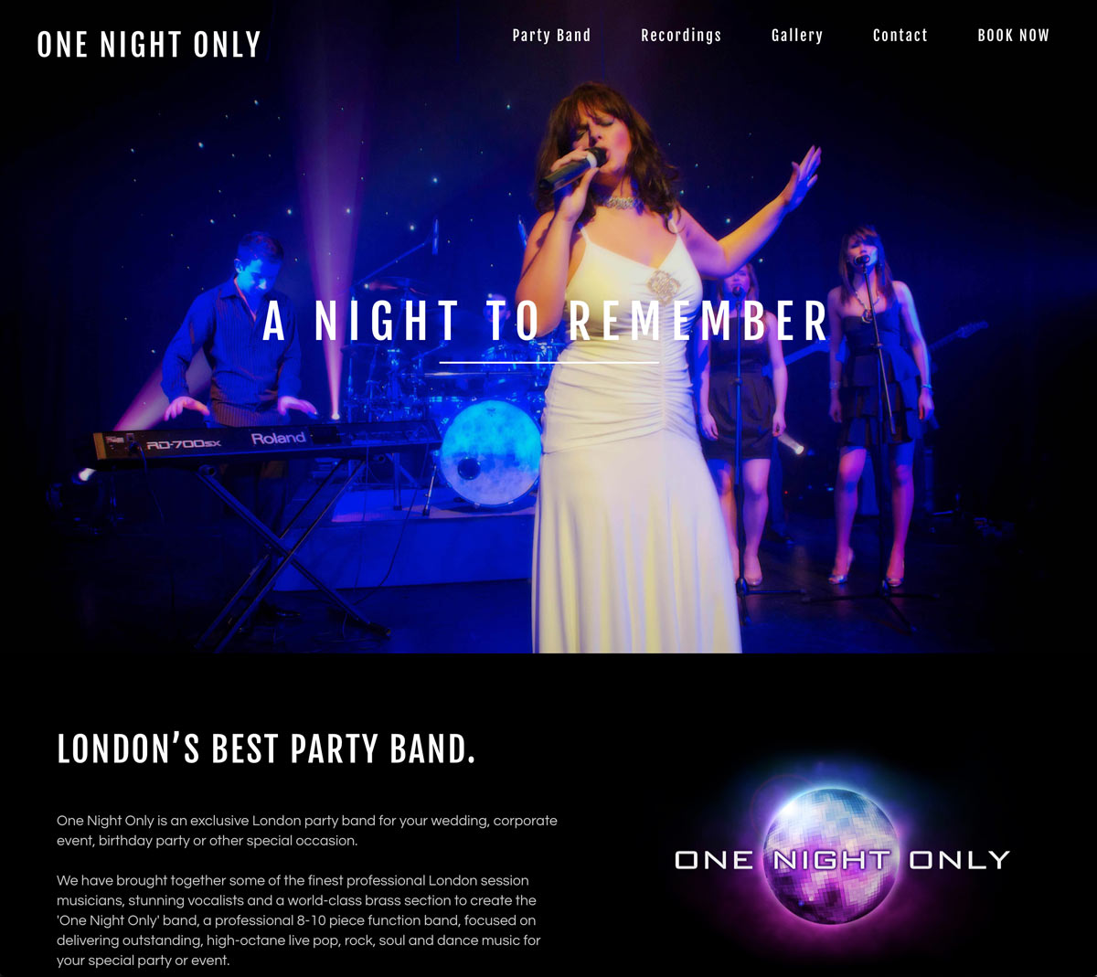 The website of One Night Only Function Band.